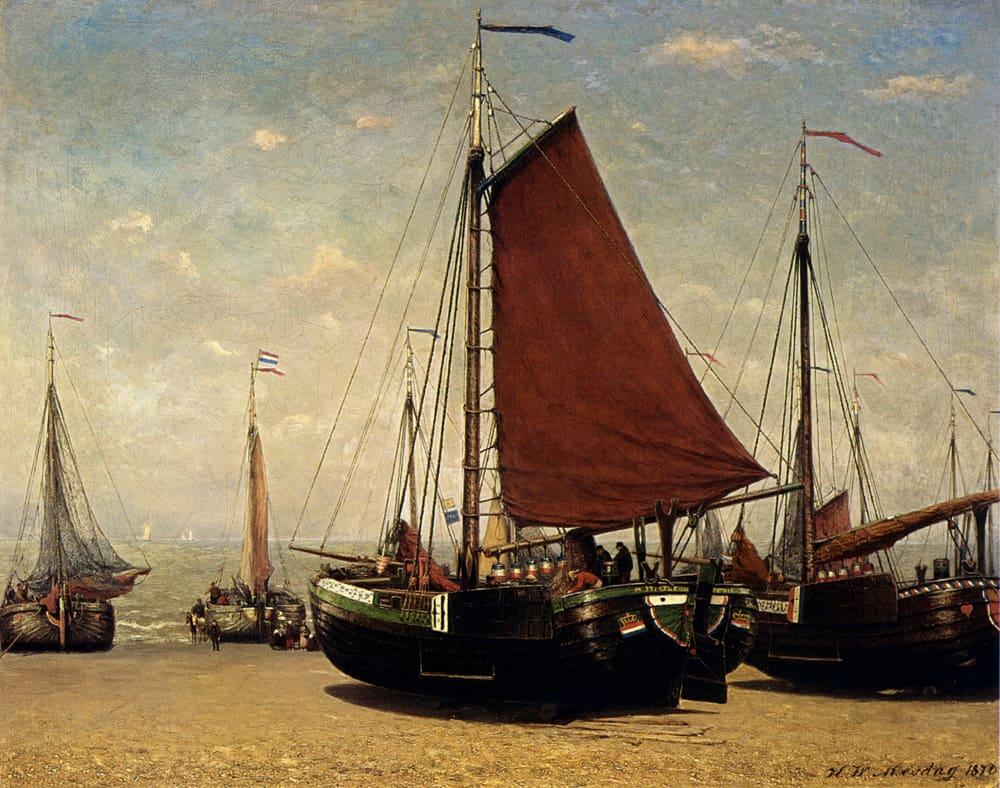 Mesdag_Hendrik_Willem_The_Bomschuit_Prinses_Sophie_On_The_Beach_Scheveningen
