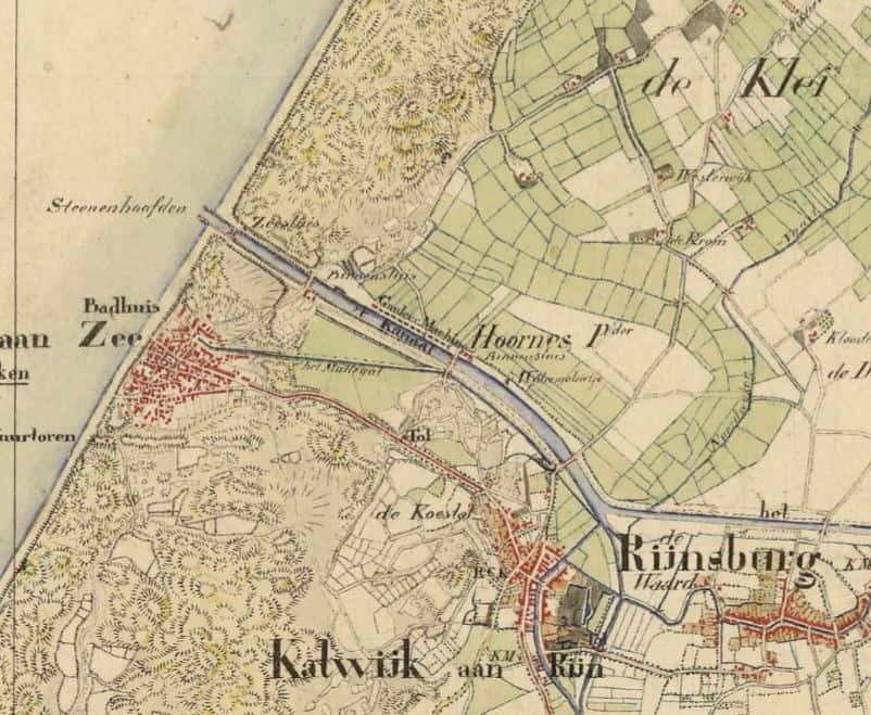 1850, oude loop van de Rijn door de Hoornes